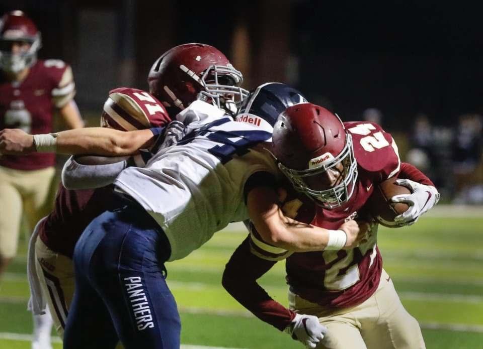 <strong>ECS running back Jaylen Greenwood (right) scores a touchdown against the Franklin Road Academy defense on Friday, Nov. 6, 2020.</strong> (Mark Weber/The Daily Memphian)