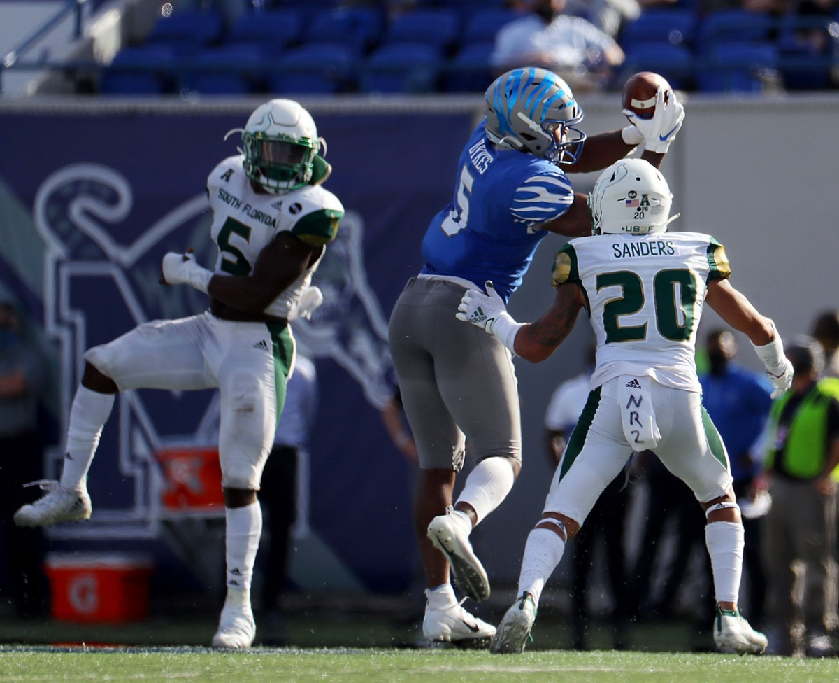 <strong>University of Memphis tight end Sean Dykes (5) goes up for a catch during a Nov. 7, 2020 home game at the Liberty Bowl Memorial Stadium against the University of South Florida.</strong> (Patrick Lantrip/Daily Memphian)