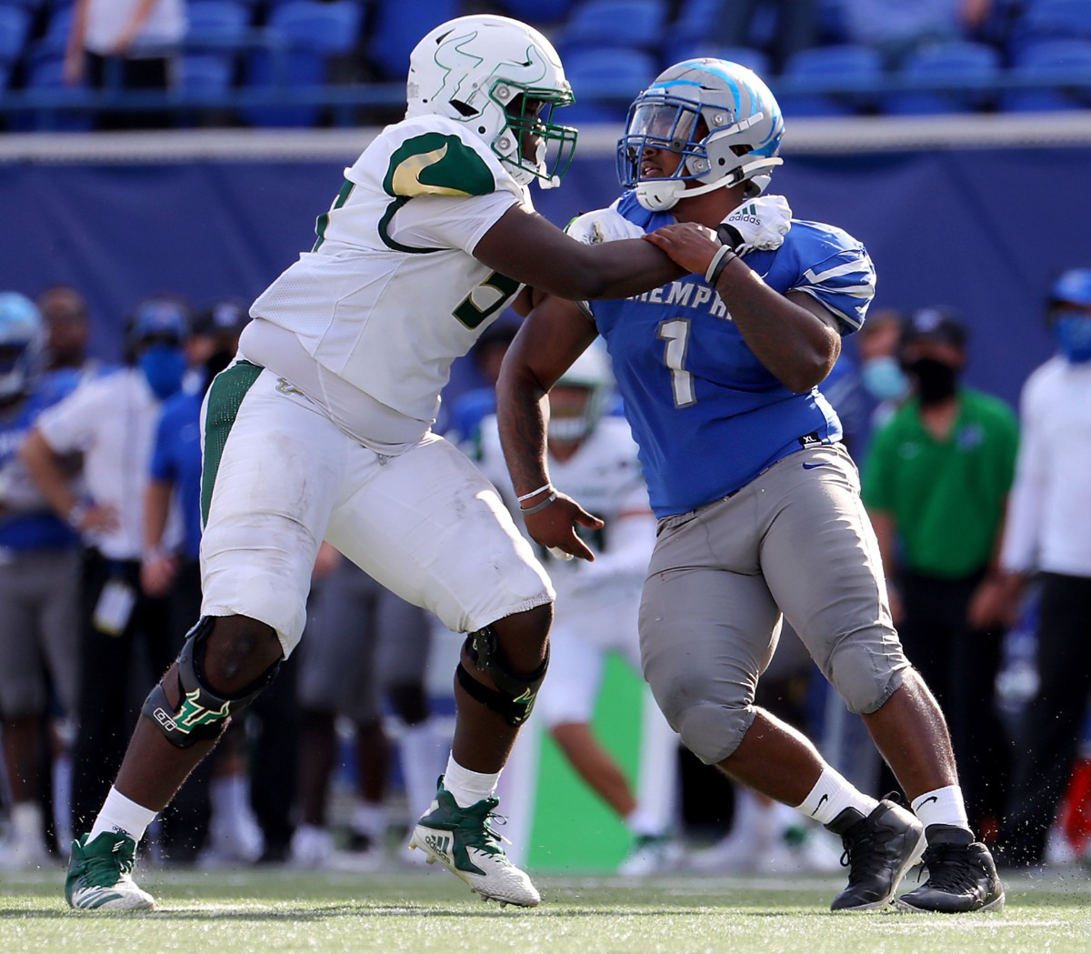 <strong>University of Memphis defensive lineman O'Bryan Goodson (1) tries to slip by a University of South Florida defender during a Nov. 7, 2020 home game at the Liberty Bowl Memorial Stadium against the University of South Florida.</strong> (Patrick Lantrip/Daily Memphian)