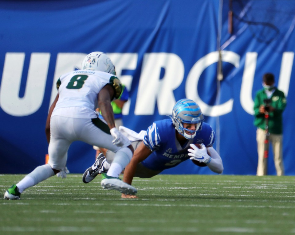 <strong>University of Memphis quarterback Brady White (3) dives for a first down during a Nov. 7, 2020 home game at the Liberty Bowl Memorial Stadium against the University of South Florida.</strong> (Patrick Lantrip/Daily Memphian)