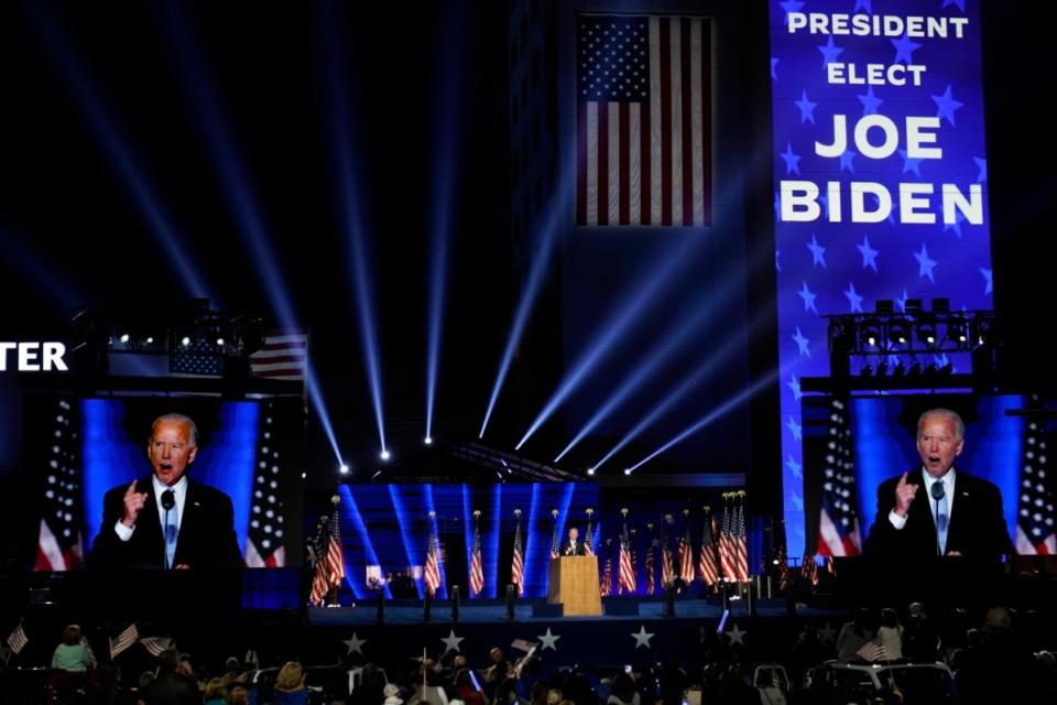 <strong>President-elect Joe Biden speaks Saturday, Nov. 7, 2020, in Wilmington, Del.</strong> (Andrew Harnik/AP