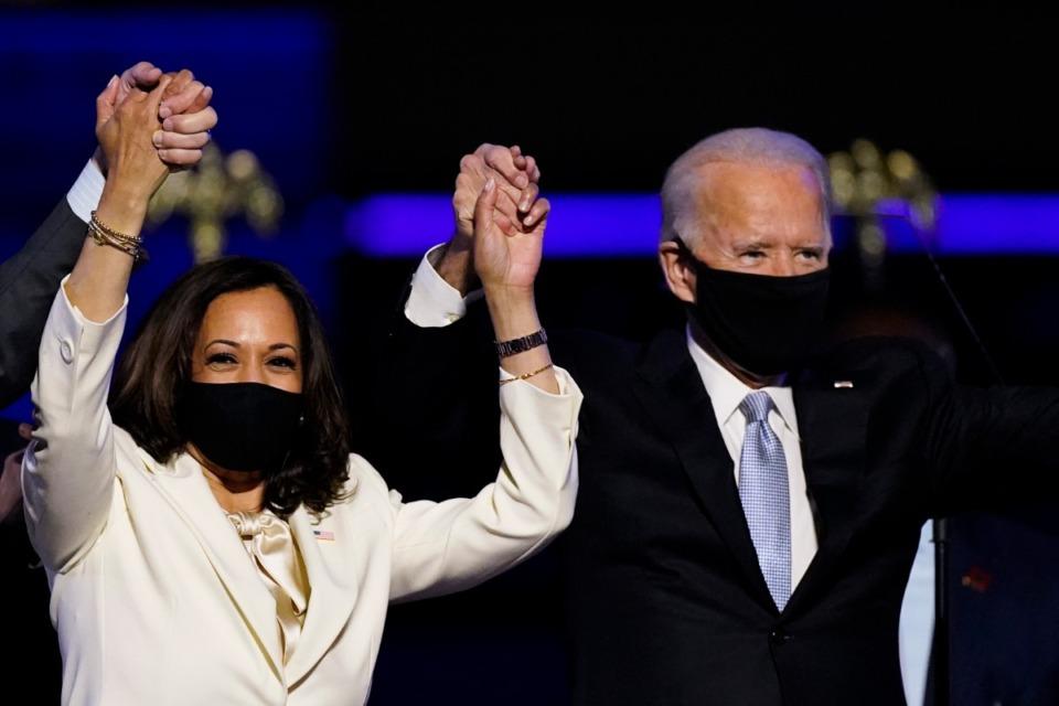<strong>Vice President-elect Kamala Harris joins President-elect Joe Biden as they celebrate Saturday, Nov. 7, 2020, in Wilmington, Del.</strong> (Andrew Harnik/AP)