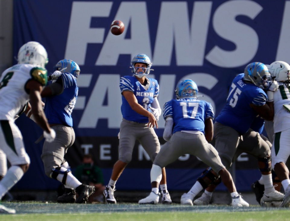 <strong>University of Memphis quarterback Brady White (3) throws a pass to Kylan Watkins (17) during a Nov. 7, 2020 home game at the Liberty Bowl Memorial Stadium against the University of South Florida.</strong> (Patrick Lantrip/Daily Memphian)