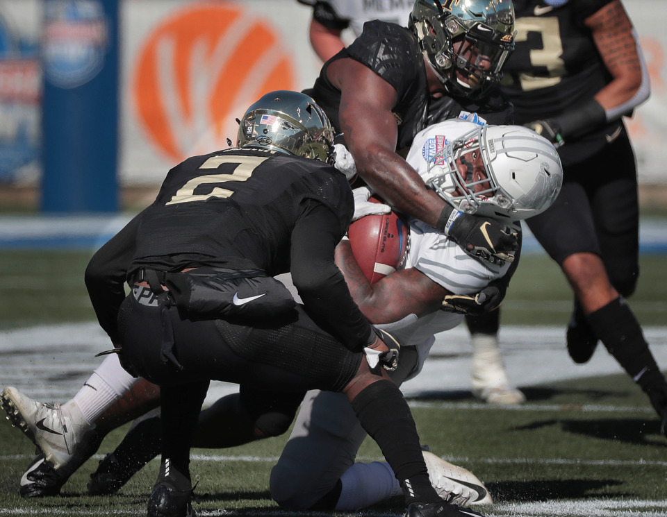 <strong>University of Memphis running back Patrick Taylor Jr. is taken down on a run against Wake Forest during the Birmingham Bowl on Dec. 22, 2018, at Legion Field in Birmingham, Ala.</strong> (Jim Weber/Daily Memphian)