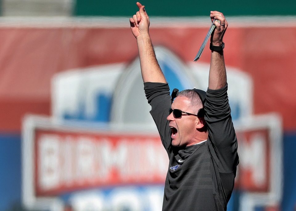 <strong>University of Memphis Coach Mike Norvell calls a play against Wake Forest during the Birmingham Bowl on Dec. 22, 2018, at Legion Field in Birmingham, Ala.</strong> (Jim Weber/Daily