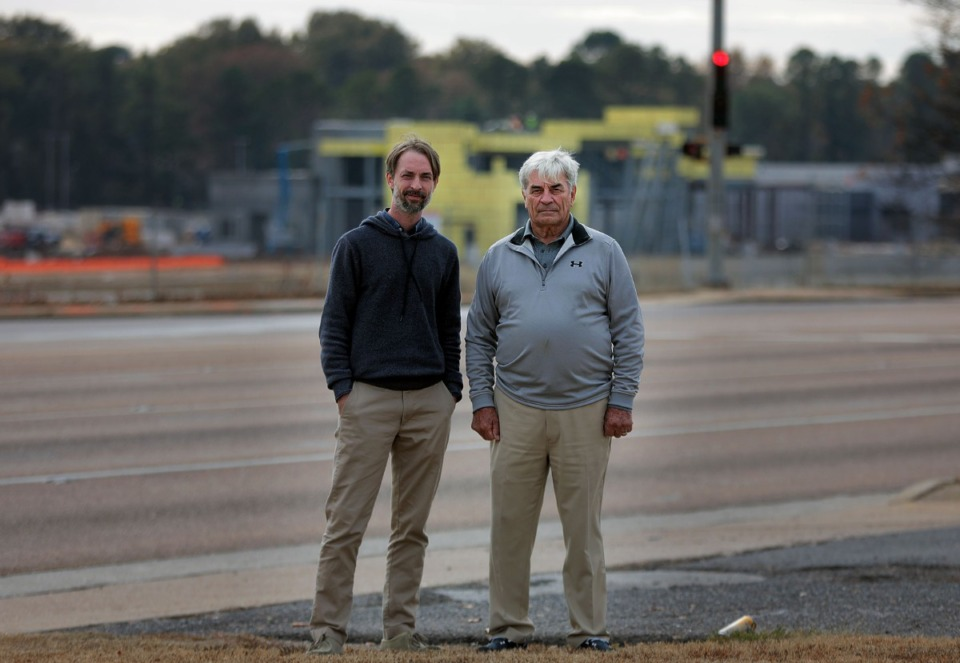 <strong>Hunter Smith, left, and his father, Wise Smith, (shown Nov. 14, 2019, at the site of their proposed Marketplace at Raleigh) head Memphis-based Marketplace Development LLC, which is spearheading the project</strong>. (Patrick Lantrip/Daily Memphian file)