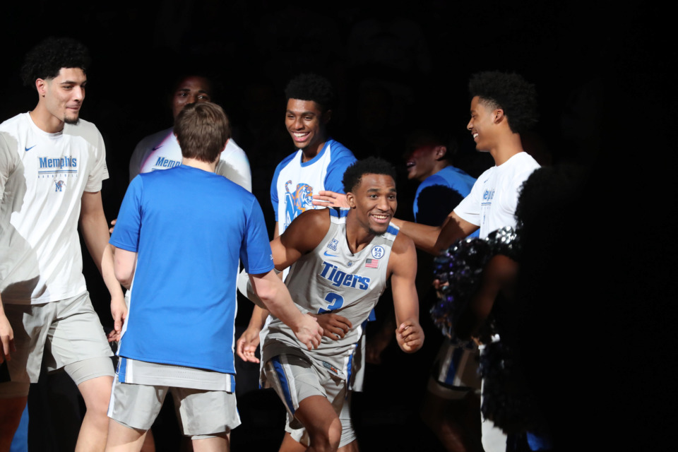<strong>Tigers teammates cheer on Jeremiah Martin (3) before the University of Memphis game against the Tennessee State Tigers&nbsp;at FedExForum in Memphis on Saturday, Dec. 22, 2018.</strong> (Karen Pulfer Focht/Special to The Daily Memphian)