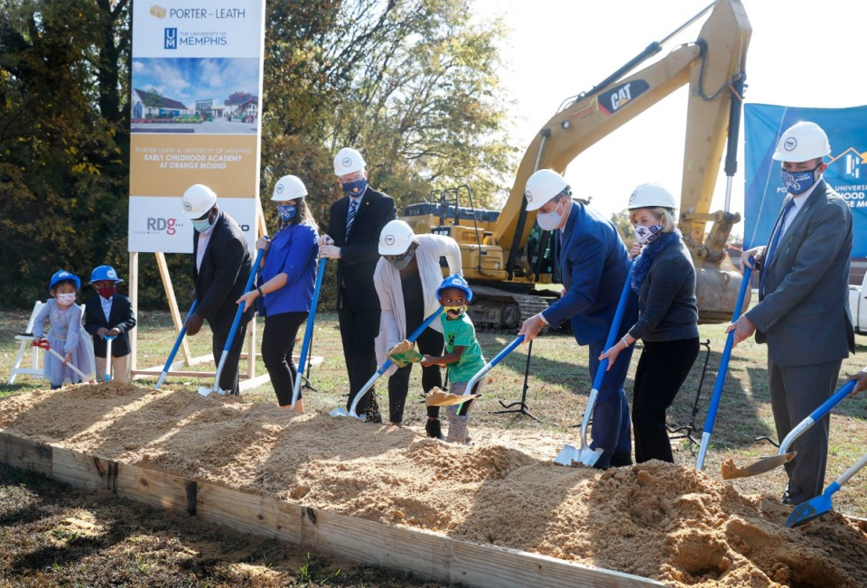 <strong>Officials from Porter-Leath, University of Memphis and RedZone Ministries break ground for the early childhood center on Wednesday, Nov. 11, 2020.</strong> (Mark Weber/The Daily Memphian)