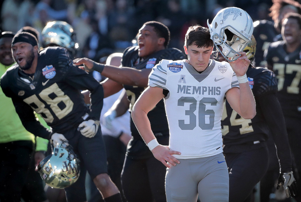 <strong>University of Memphis kicker Riley Patterson (36) reacts after missing a field goal attempt to tie the game against Wake Forest during the Birmingham Bowl on Dec. 22, 2018, at Legion Field in Birmingham, Ala.</strong> (Jim Weber/Daily Memphian)
