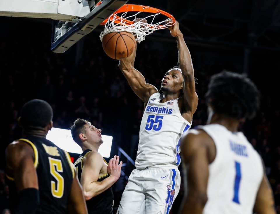 <strong>Former Memphis forward Precious Achiuwa (shown dunking over the Wichita State defense on Jan. 9, 2020) has nearly completed his pre-draft process and is awaiting his destination in the NBA&rsquo;s virtual draft.</strong> (Mark Weber/Daily Memphian file)