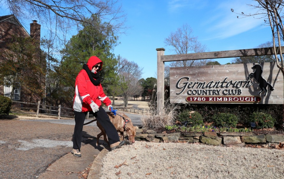 <strong>Amy Burkman, a resident of Germantown, walks her dog along the edge of the Germantown Country Club property.&nbsp;Potential buyers have shown neighbors a proposal for 381 single-family lots.</strong> (Houston Cofield/Daily Memphian file)