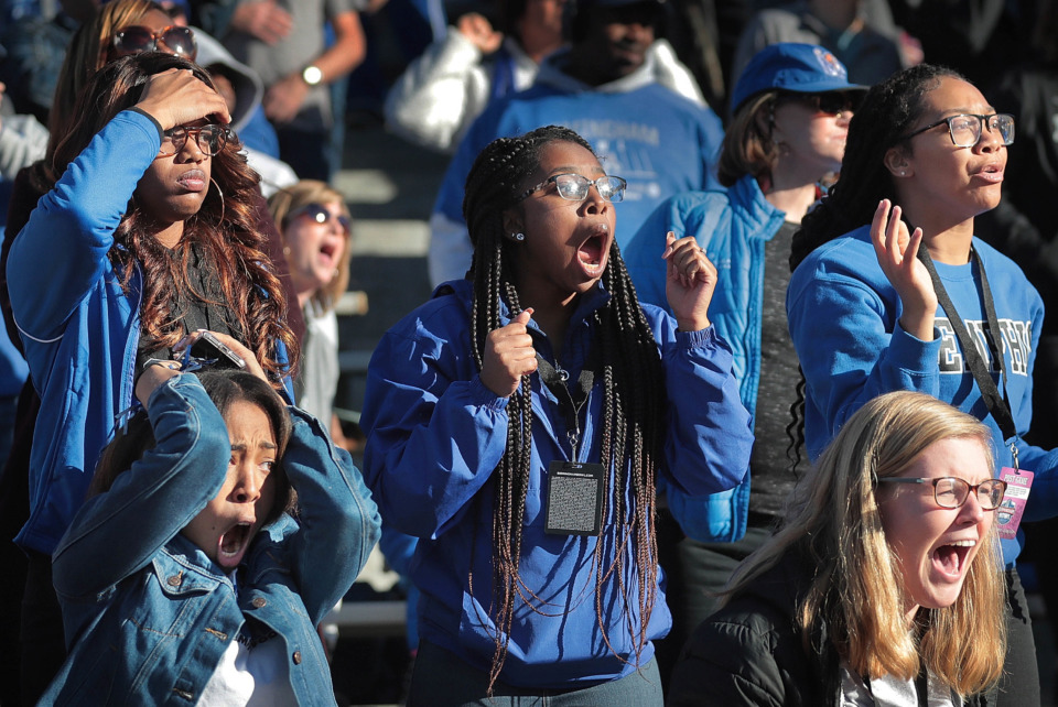 <strong>University of Memphis fans react as Wake Forest moves into scoring position in the last minute of play against the Tigers during the Birmingham Bowl on Dec. 22, 2018, at Legion Field in Birmingham, Ala.</strong> (Jim Weber/Daily Memphian)