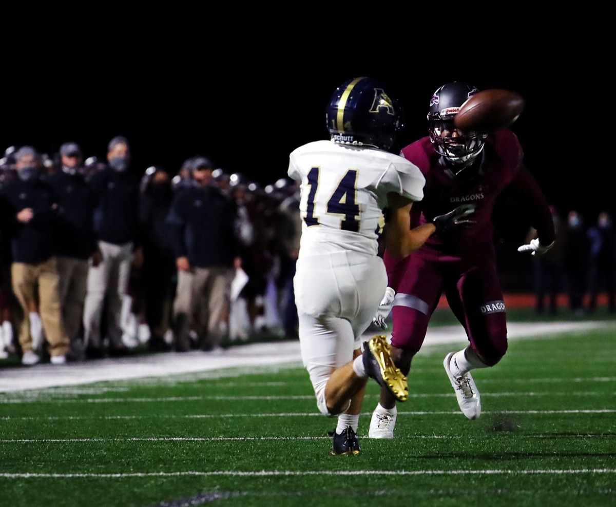<strong>Arlington cornerback Gabriel Torres (14) intercepts the ball during the Nov. 13, 2020, game against Collierville.</strong> (Patrick Lantrip/Daily Memphian)