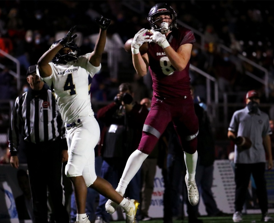 <strong>Collierville&rsquo;s Tyler Collier (8) barely misses a touchdown catch during the Nov. 13, 2020, home game against Arlington.</strong> (Patrick Lantrip/Daily Memphian)