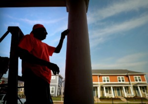 <strong>The South City development (where a workman sands a column in a 2019 file photo) is part of Memphis&rsquo; effort to bring racial and economic diversity into areas that suffered due to old segregation laws.</strong> (Jim Weber/Daily Memphian file )
