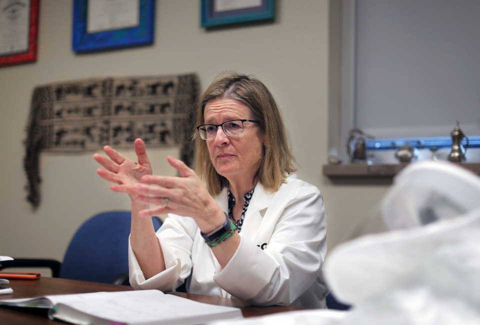 <strong>University of Tennessee Health Sciences Center&rsquo;s Dr. Colleen Jonsson talks about her research on the coronavirus in her Medical District office.</strong> (Patrick Lantrip/Daily Memphian file)