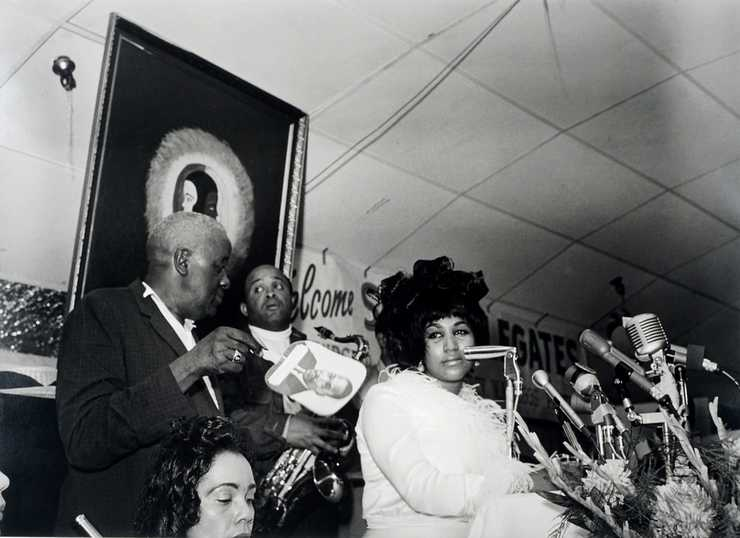 Ernest C. Withers American, 1922–2007 <b>Coretta Scott King, Ben Branch, and Aretha Franklin, Club Paradise, SCLC Convention, Memphis, July, 1968</b> Gelatin silver print, printed from original negative in 1999 Memphis Brooks Museum of Art purchase with funds provided by Ernest and Dorothy Withers, Panopticon Gallery, Inc., Waltham, MA, Landon and Carol Butler, The Deupree Family Foundation, and The Turley Foundation   2005.3.88 © Withers Family Trust