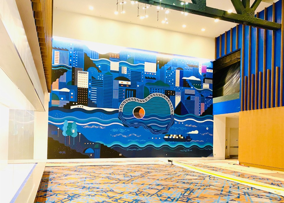 <strong>Mural of abstract future cityscape of Memphis will greet visitors in the lower level lobby of Renasant Convention Center. The mural is the work of artists</strong>&nbsp;<strong>Kong Wee Pang and Jay Crum.</strong>&nbsp;(Courtesy of Memphis Tourism)