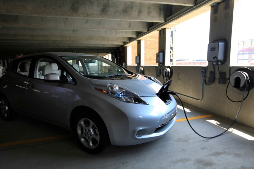 <strong>The county&rsquo;s&nbsp;pilot program will include 14 electric vehicle chargers, similar to this one in a Downtown garage, at county office locations.</strong> (Daily Memphian file)