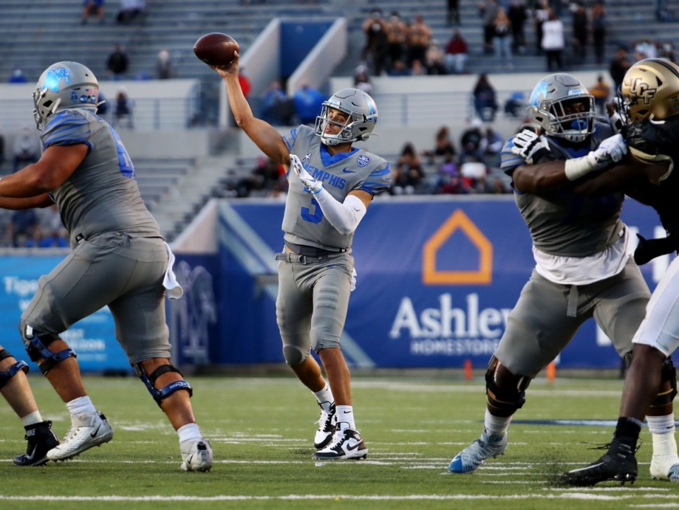 <strong>University of Memphis quarterback Brady White (3) throws a pass against the University of Central Florida at Liberty Bowl Memorial Stadium on Oct. 17, 2020 game. Despite being favored by 20 points, the Tigers needed two late touchdowns to win 50-49.</strong> (Patrick Lantrip/Daily Memphian file)
