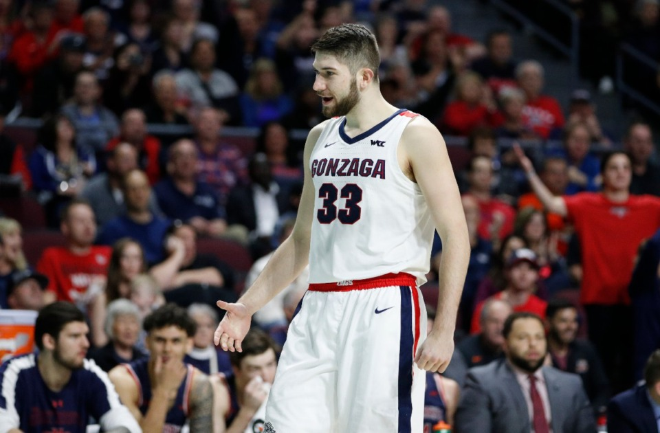 <strong>Gonzaga's Killian Tillie (33), seen here in March, was signed to a two-way contract Wednesday night,2020, in Las Vegas.</strong> (John Locher/AP file)