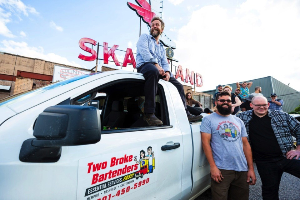 <strong>Taylor Berger of Two Broke Bartenders and service industry crew stand in front of the old Skateland building before moving in on May 8, 2020.</strong> (Ziggy Mack/Special to The Daily Memphian file)