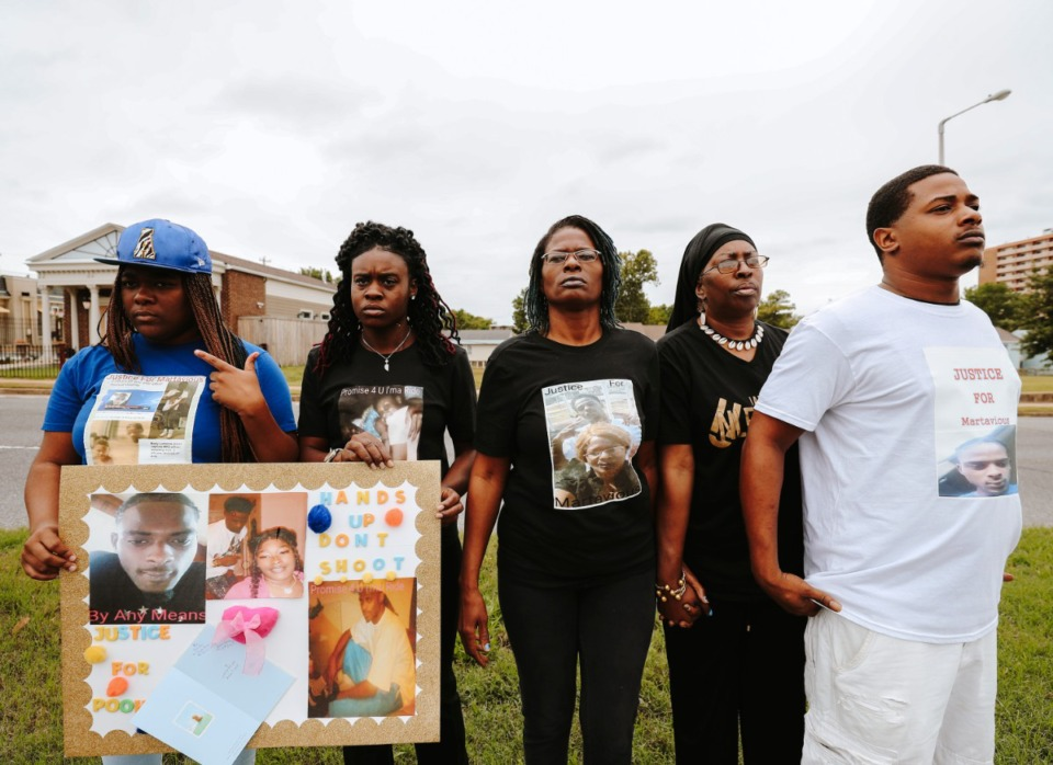 <strong>The family of Martavious Banks (in a 2018 file photo), Jerricka Banks (left), friend Tierra Mitchell, Janice Banks, Karen Spencer-McGee and Jamarious Banks joined a protest in front of the Memphis Police Association office.</strong> (Daily Memphian)