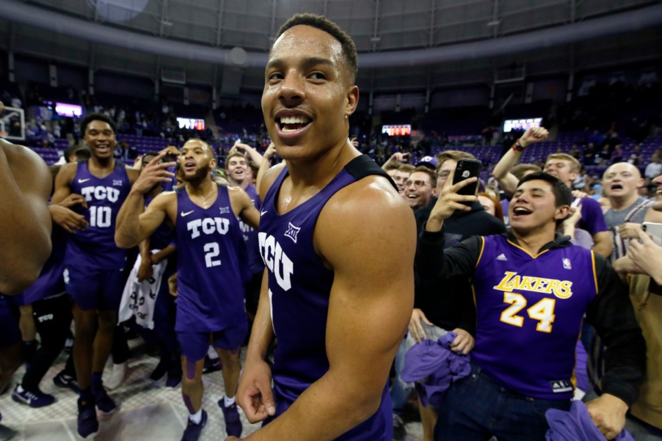 <strong>Desmond Bane, seen here with TCU in January, was tapped by Memphis in an unexpected NBA draft development.</strong> (Ray Carlin/AP file)