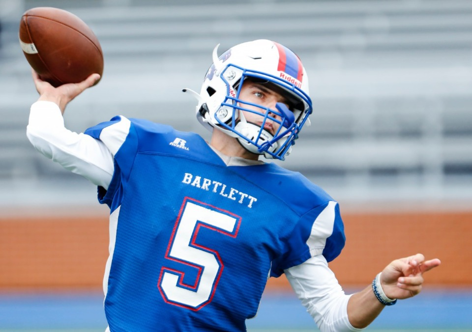 <strong>Bartlett quarterback Walt Tucker, seen here in September, will lead his Panthers against Collierville in a quarterfinal matchup.&nbsp;</strong>(Mark Weber/The Daily Memphian)