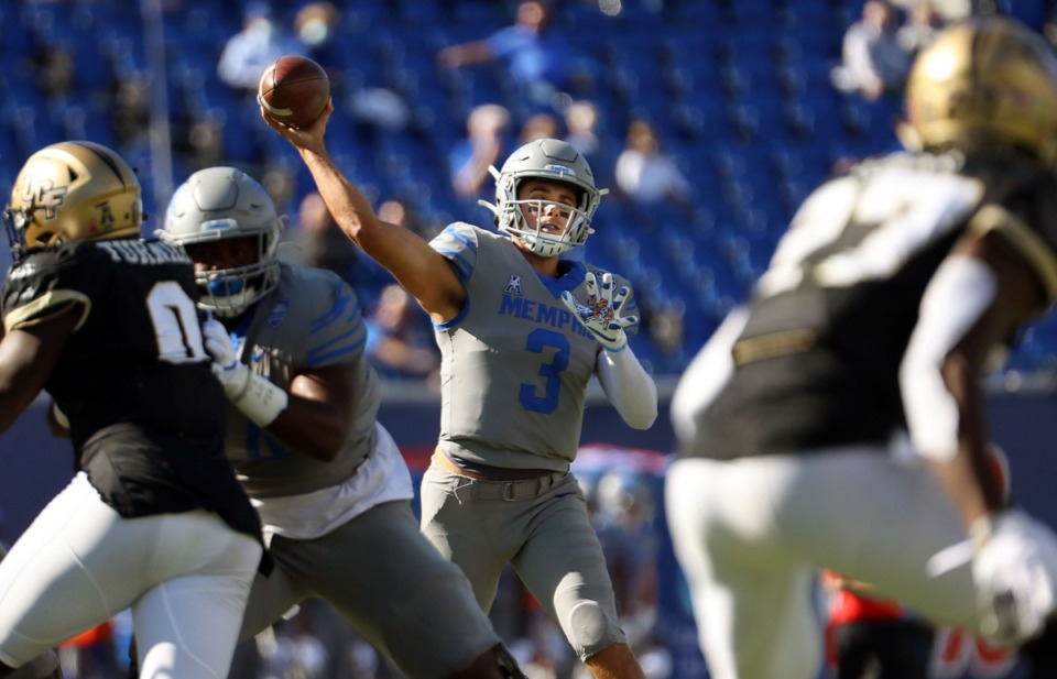 <strong>University of Memphis quarterback Brady White (3) throws a pass during an Oct. 17, 2020, game against University of Central Florida at Liberty Bowl Memorial Stadium.&nbsp;&ldquo;Against UCF, we had one [turnover] really early and we were good the rest of the game and that was a really good job,&rdquo; he said.</strong> (Patrick Lantrip/Daily Memphian)