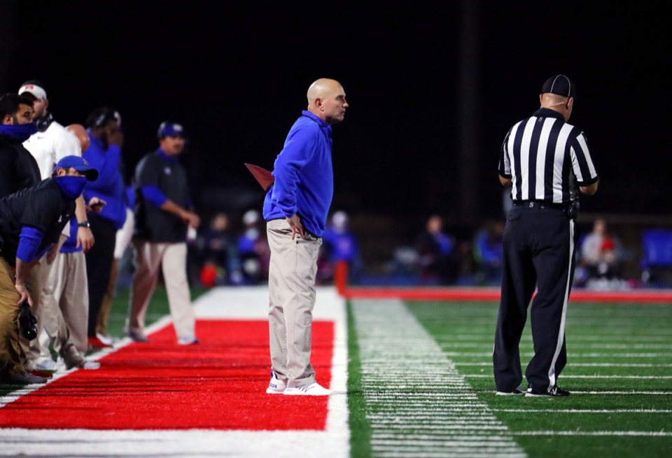 <strong>Bartlett head coach Lance Tucker has some words for a referee during the Nov. 20, 2020, playoff game against Collierville.</strong> (Patrick Lantrip/Daily Memphian)