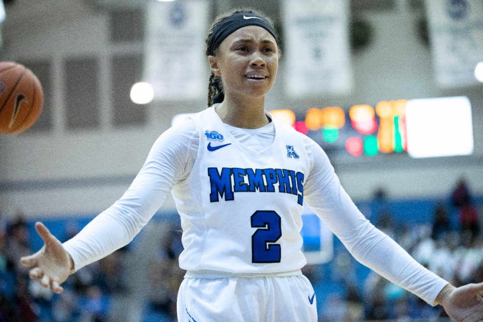 <strong>University of Memphis guard Madison Griggs (2) reacts to a foul call in the second half of an NCAA college basketball game against Connecticut Tuesday, Jan. 14, 2020, in Memphis.</strong> (Nikki Boertman/AP)