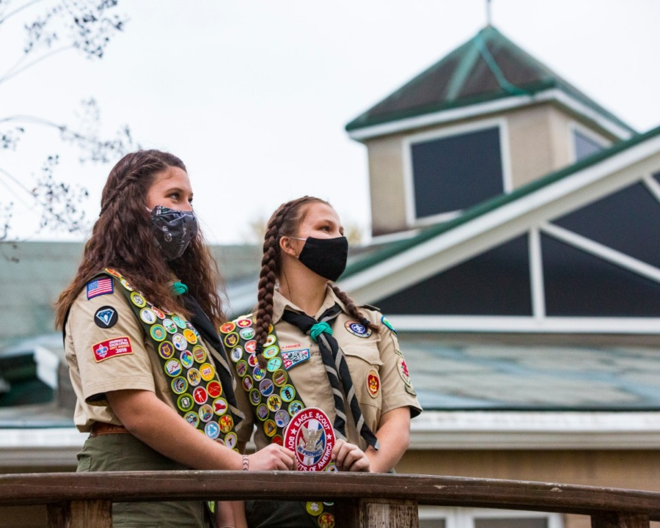 <strong>Ava Look (left) and Anniston Murphy are the first girls to achieve the rank of Eagle Scout in the Memphis-based Boy Scouts of America Chickasaw Council. They received their badges Sunday, Nov. 22 at Getwell Church in Southaven.</strong> (Ziggy Mack/Special to Daily Memphian)