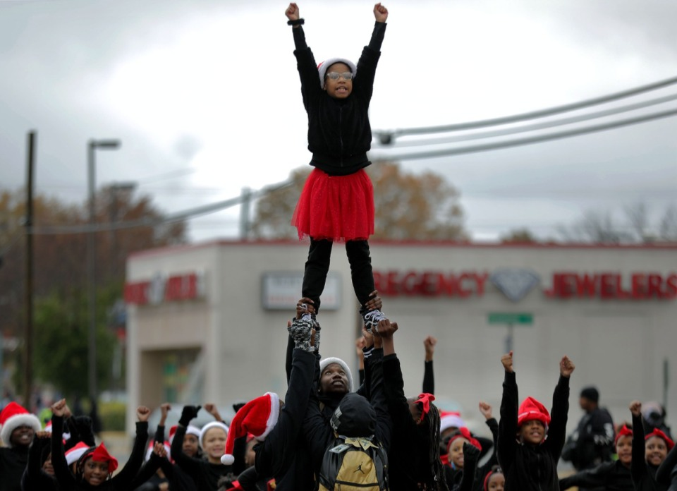 <strong>A cheerleading squad does a routine during the Whitehaven Christmas Parade on Nov. 23, 2019. Due to the COVID-19 pandemic, this year&rsquo;s parade has been canceled. But WMC-TV Channel 5 will air an edited version of the 2019 parade on Saturday, Nov. 28.</strong> (Patrick Lantrip/Daily Memphian file)