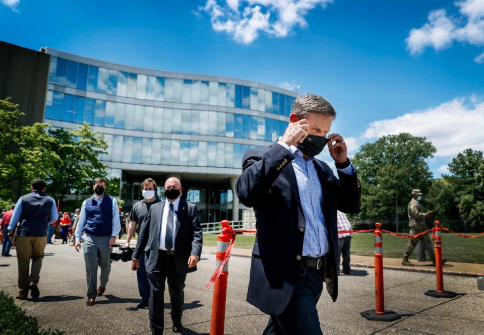 <strong>Tennessee Gov. Bill Lee takes off his face mask after touring an emergency hospital in the former Commercial Appeal building on Monday, May 18, 2020. (</strong>Mark Weber/Daily Memphian)