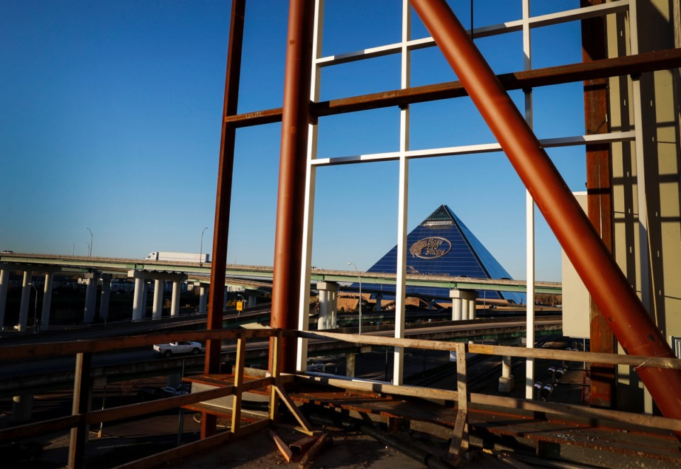 <strong>Bass Pro Shops at The Pyramid seen from outdoor space at the newly renovated Renasant Convention Center on Tuesday, Nov. 17, 2020.</strong> (Mark Weber/The Daily Memphian)