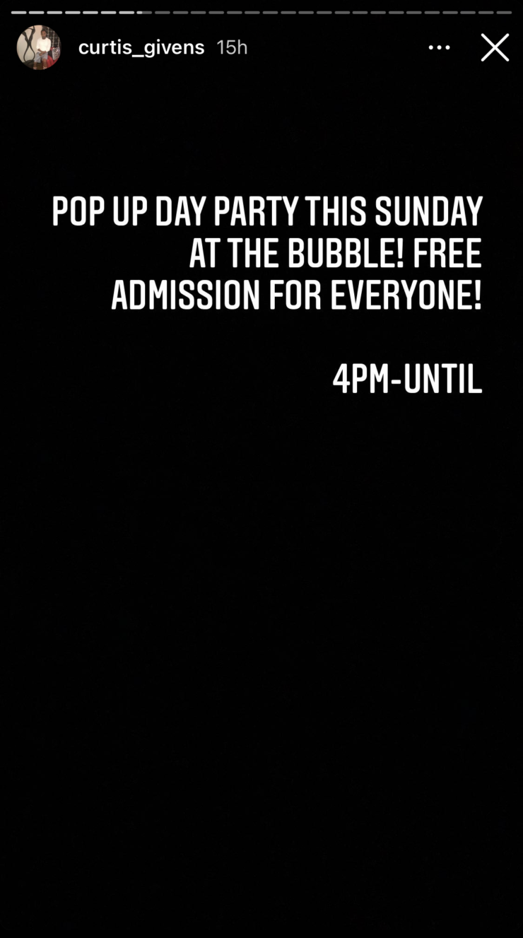 <strong>Here is a screenshot from Curtis Givens&rsquo; Instagram with an invitation to a pop-up party the day after the All Black Affair.</strong>