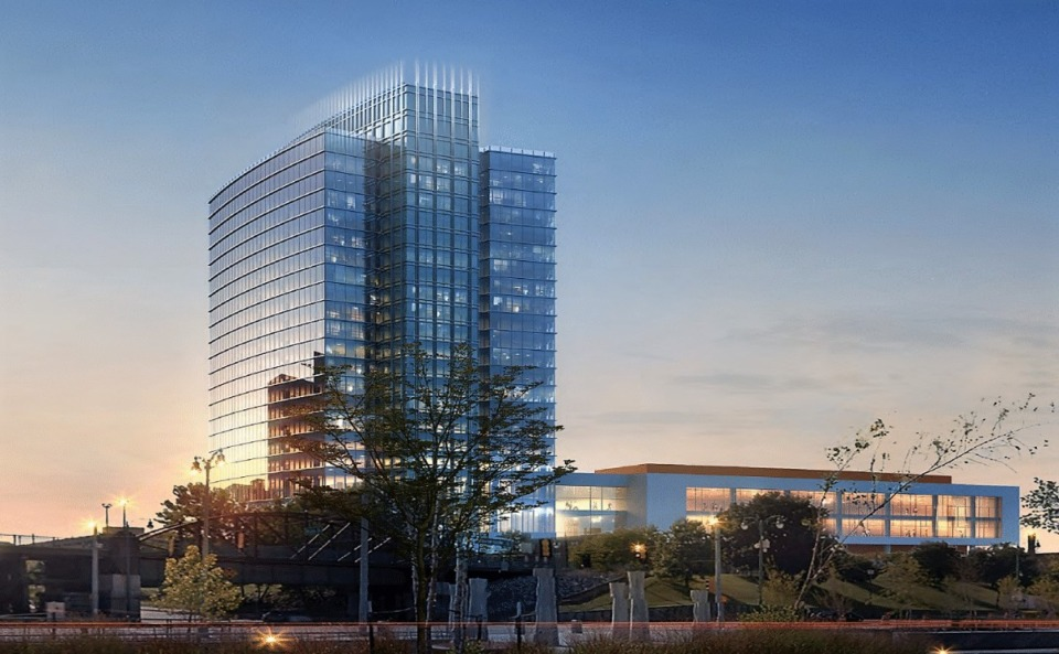 <strong>The final plan for the Grand Hyatt Hotel will likely look different and more&nbsp;&ldquo;iconic&rdquo; than this one, developer Chance Carlisle says.</strong> (Credit: Cooper Carry)