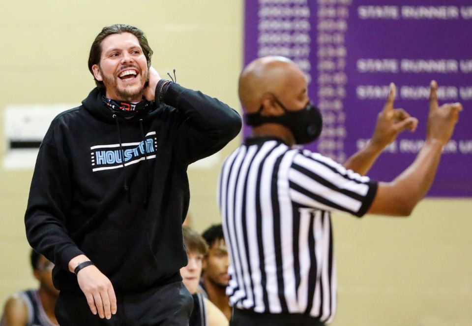 <strong>Houston head coach Mike Miller reacts to an officials call during action against CBHS on Dec. 1, 2020.</strong> (Mark Weber/The Daily Memphian)
