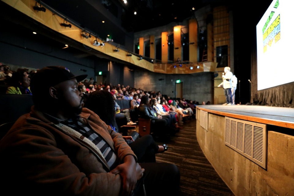 <strong>Attendees listen to movie pitches during an Indie Memphis event at Playhouse on the Square in 2018.</strong> (Houston Cofield/Daily Memphian file)
