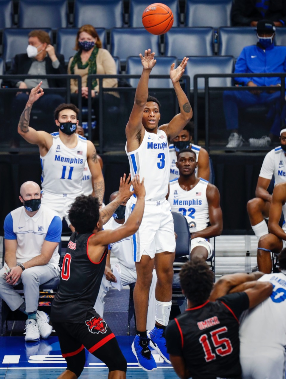<strong>Memphis forward Landers Nolley II puts up a 3-pointer against Arkansas State on Wednesday, Dec. 2, 2020.</strong> (Mark Weber/The Daily Memphian)