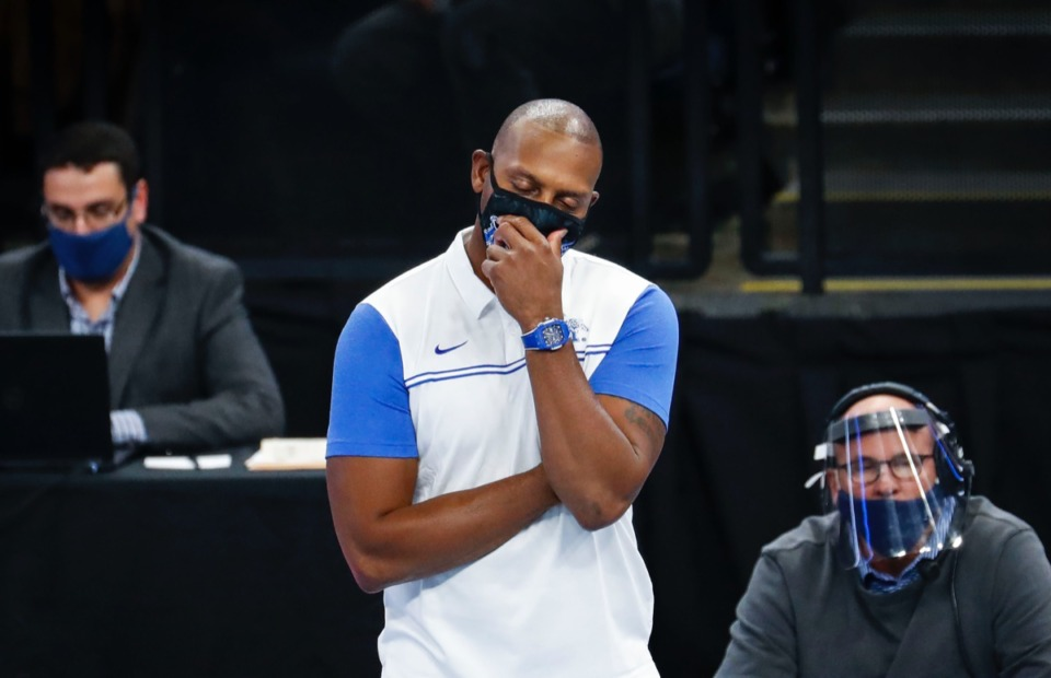 <strong>Memphis coach Penny Hardaway ponders his next move against Arkansas State on Wednesday, Dec. 2, 2020.</strong> (Mark Weber/The Daily Memphian)