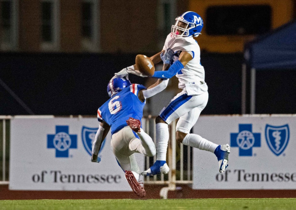 <strong>Roderic Lewis (6) of MUS breaks up a pass intended for McCallie&rsquo;s Eric Rivers on Thursday, Dec. 3, 2020, in Cookeville, Tennessee.</strong> (Wade Payne/www.wadepaynephoto.com)