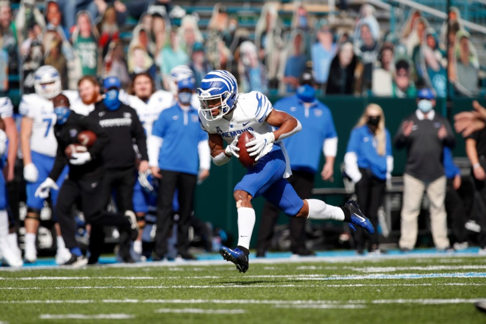 <strong>Calvin Austin III has over 100 yards receiving, including a 59-yard touchdown, in the Tigers game Saturday, Dec. 5 against Tulane.&nbsp;</strong> (Tyler Kaufman/Memphis Athletics)