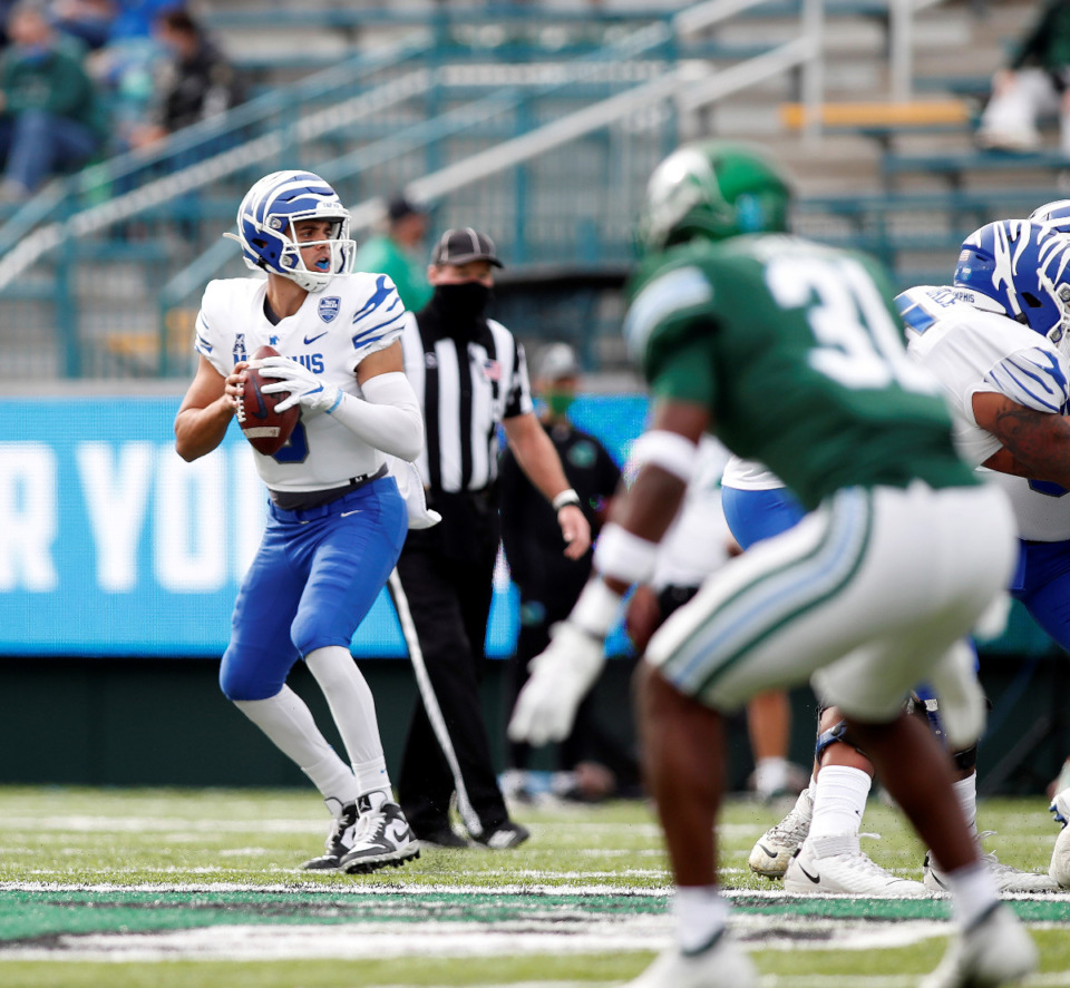 <strong>&ldquo;I&rsquo;m proud of my team, proud of myself, proud of my coaches and proud of this program,&rdquo; Memphis QB Brady White said in an answer to a question asking whether the year could still be considered a success.</strong> (Tyler Kaufman/Memphis Athletics)