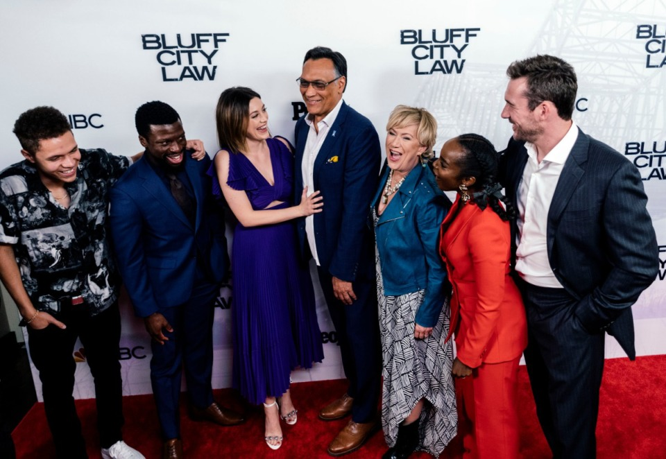 <strong>(From left) Stony Blyden, Michael Luwoye, Caitlin McGee, Jimmy Smits, Jayne Atkinson, MaameYaa Boafo, and Barry Sloane gather for a group photo (pre-pandemic) at the end of a red carpet event for the private screening of &ldquo;Bluff City Law&rdquo; at the Halloran Centre.</strong> (Houston Cofield/Special To The Daily Memphian file)
