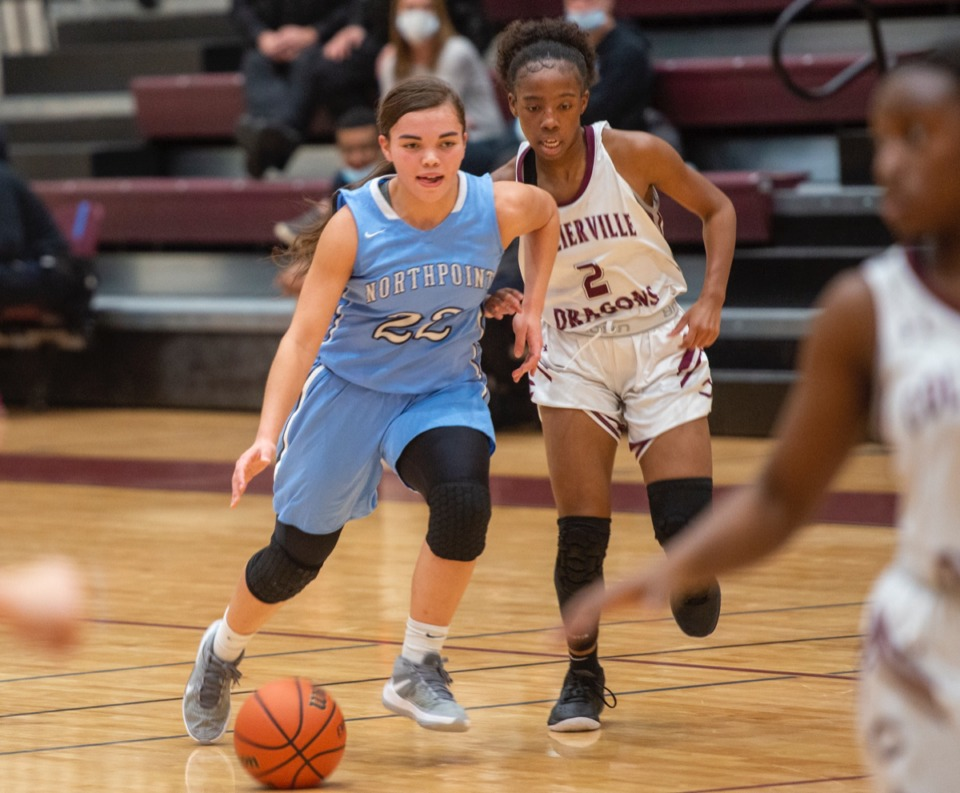 <strong>Collierville&rsquo;s Nakiyah Westbrook (2) challenges Northpoint's Izzy Carlson (22) as she breaks up the court on December 8, 2020.</strong> (Greg Campbell/Special to The Daily Memphian)