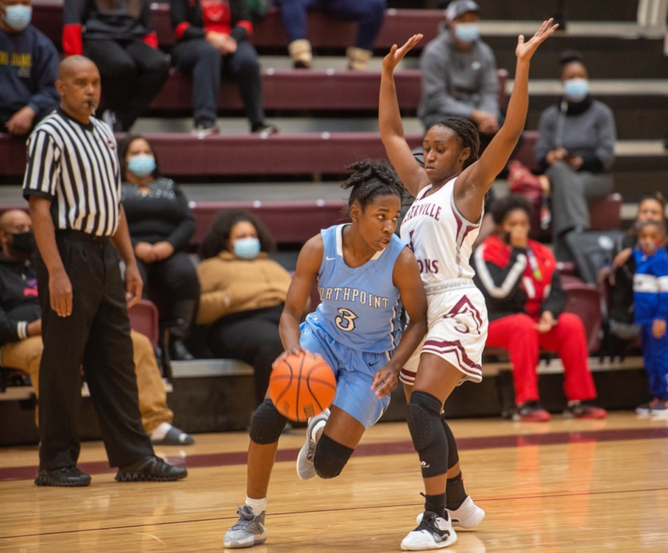 <strong>Northpoint guard Carrington Edwards (3) is tightly guarded by Collierville High School's Mallory Taylor (1) at Collierville High School Tuesday.</strong> (Greg Campbell/Special to The Daily Memphian)