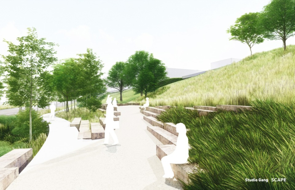 <strong>View from base of Cutbank Bluff, including informal stone &ldquo;scramble&rdquo; seating.</strong> (Credit: Studio Gang and SCAPE)