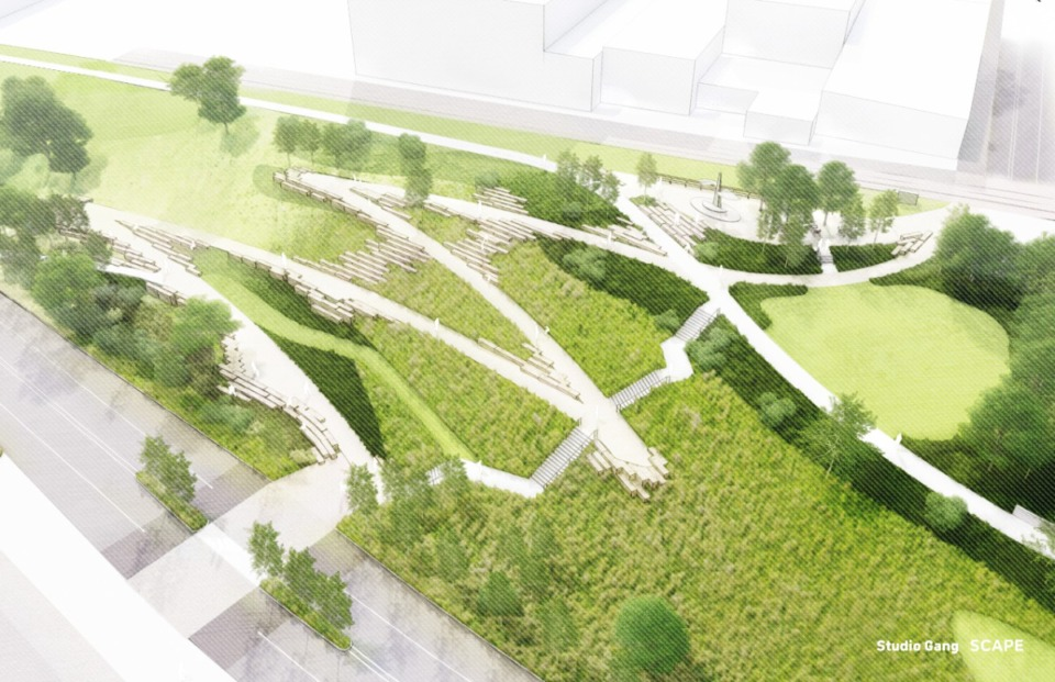 <strong>Aerial view of Cutbank Bluff design, illustrating improved entrance at Vance Park, accessible pathway down the bluff, and stone scrambles that provide informal seating along the way</strong>. (Credit:&nbsp; Studio Gang and SCAPE)